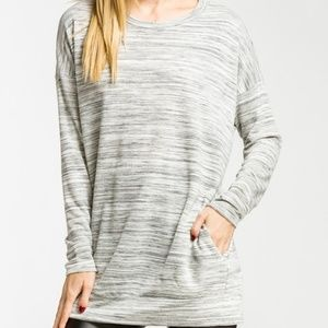 Marbled Heather Grey French Terry Top